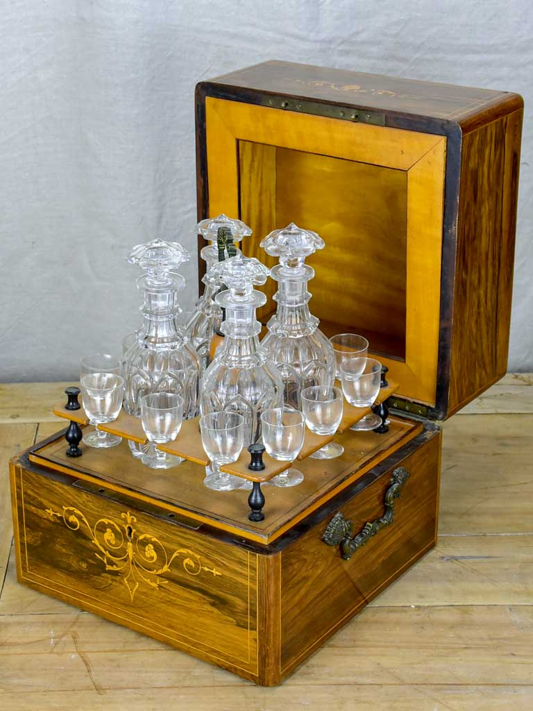 Antique French liquer box with four bottles and nine glasses