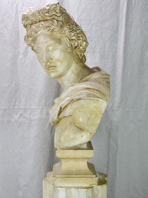 Large early 20th Century French plaster sculpture on a pedestal