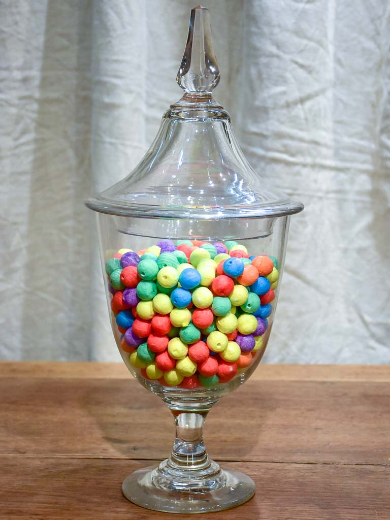 Late 19th Century French hand blown glass lolly jar with lid