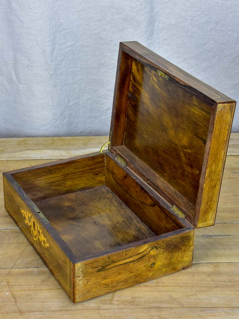 Antique French marquetry storage box