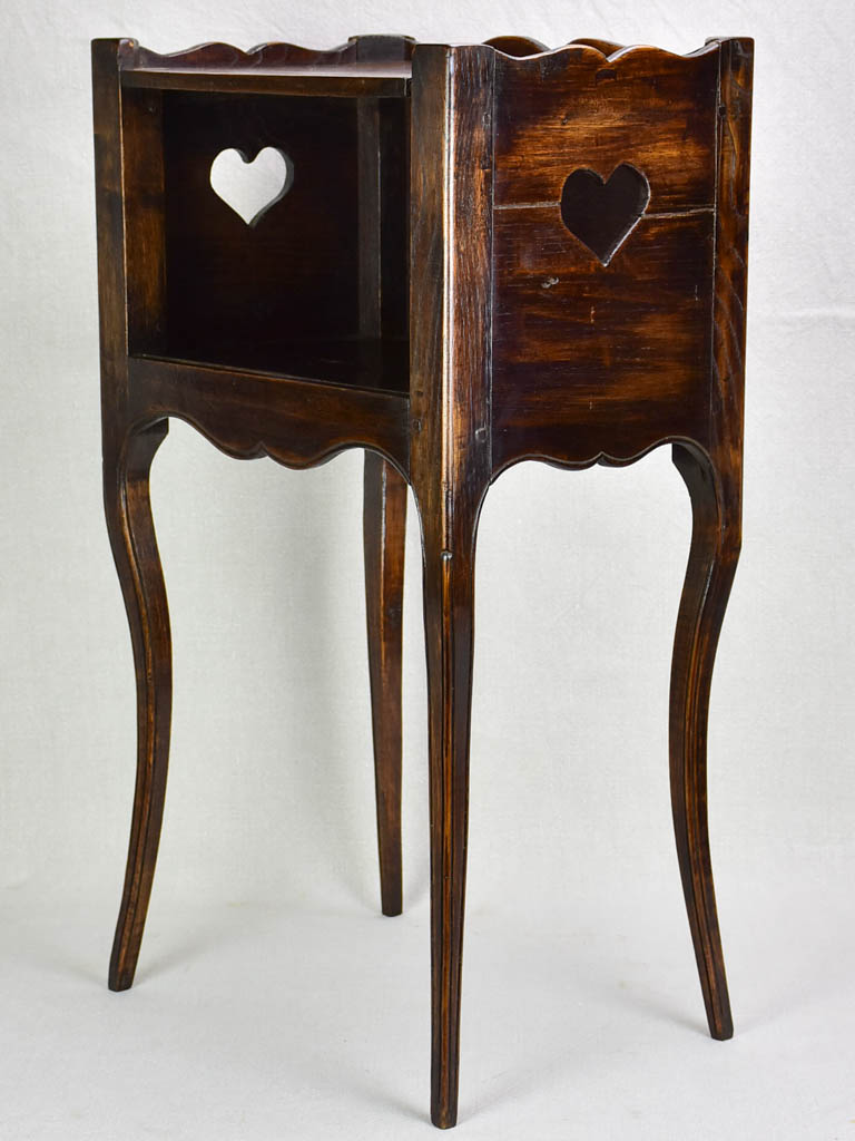 Louis XV nightstand with heart-shaped cut outs