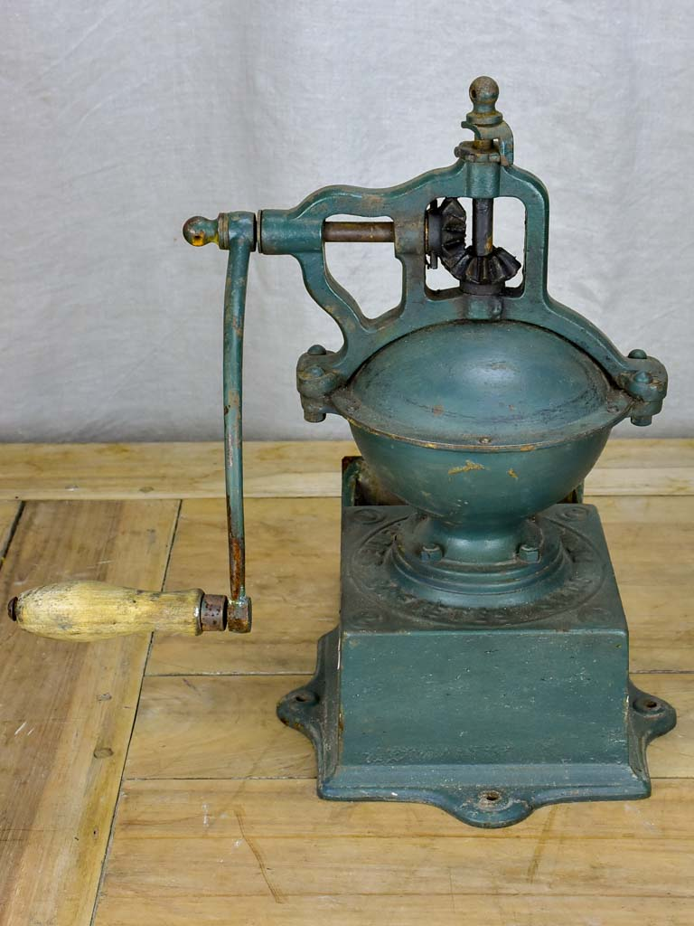 Early 20th Century Peugeot coffee mill - green cast iron