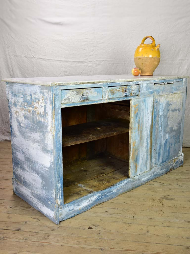 "Rare antique French baker's counter with marble top and original patina 63"" x 63"" x 35½"""