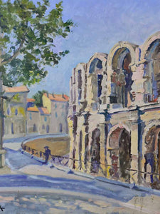 "Mid century painting of the Arles arena - Capek Pierre Jean 25½"" x 21¼"""