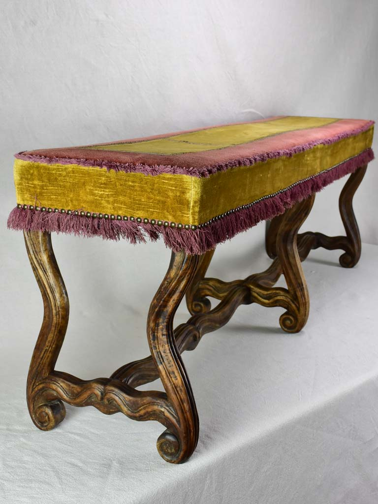 Early twentieth century upholstered bench seat from a theater 51½""