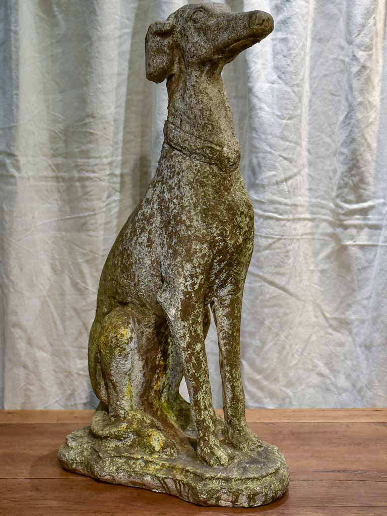 Mid century French garden sculpture of a greyhound