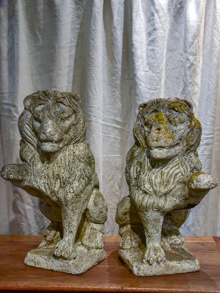 Pair of vintage French garden lions