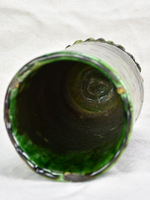 Vintage French vase with green glaze 10¼""
