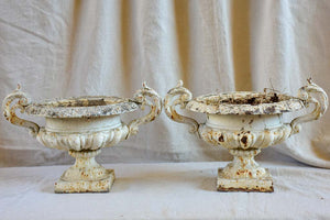 Pair of antique French Medici urns with handles