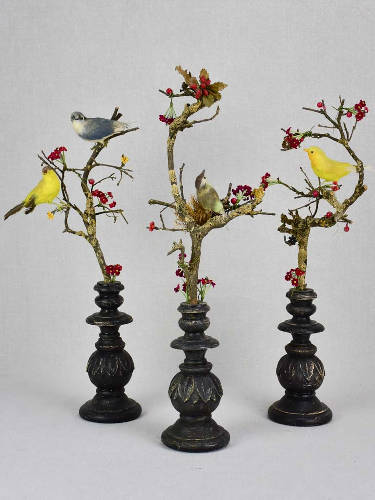 Collection of three artisan made birds on branches mounted on salvaged wooden supports 18""