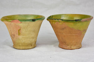 Pair of clay kitchen mortars / mixing pots with beaks