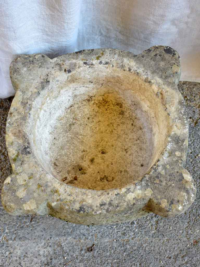 Very large antique French stone mortar