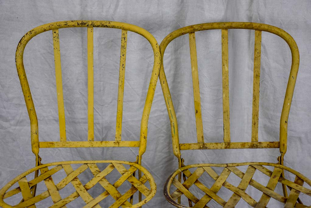 Pair of antique French folding garden chairs - wrought iron