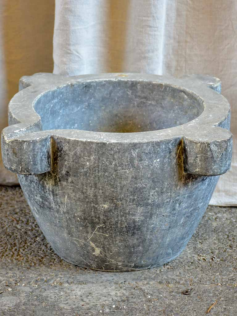 Very large antique French grey marble mortar