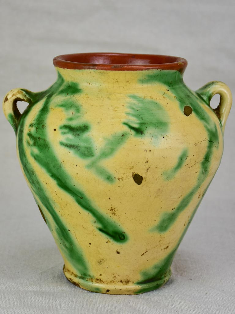 Antique confit pot - yellow and green 8""