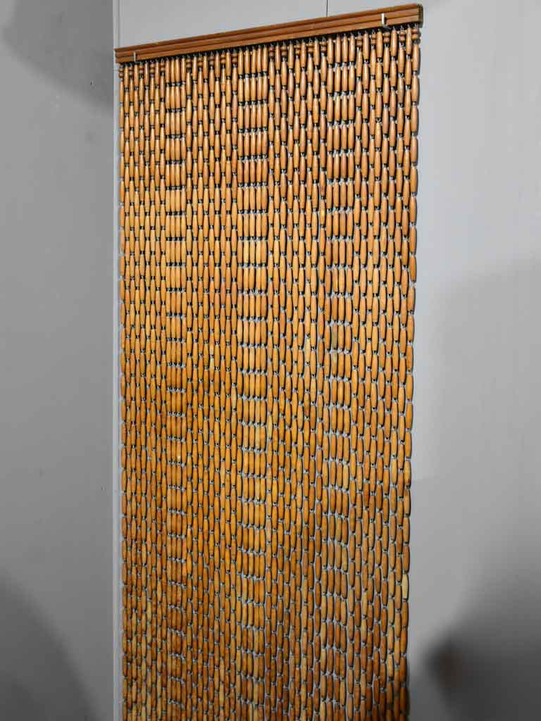 "1970's French wooden bead curtain 29½"" x 112¼"""