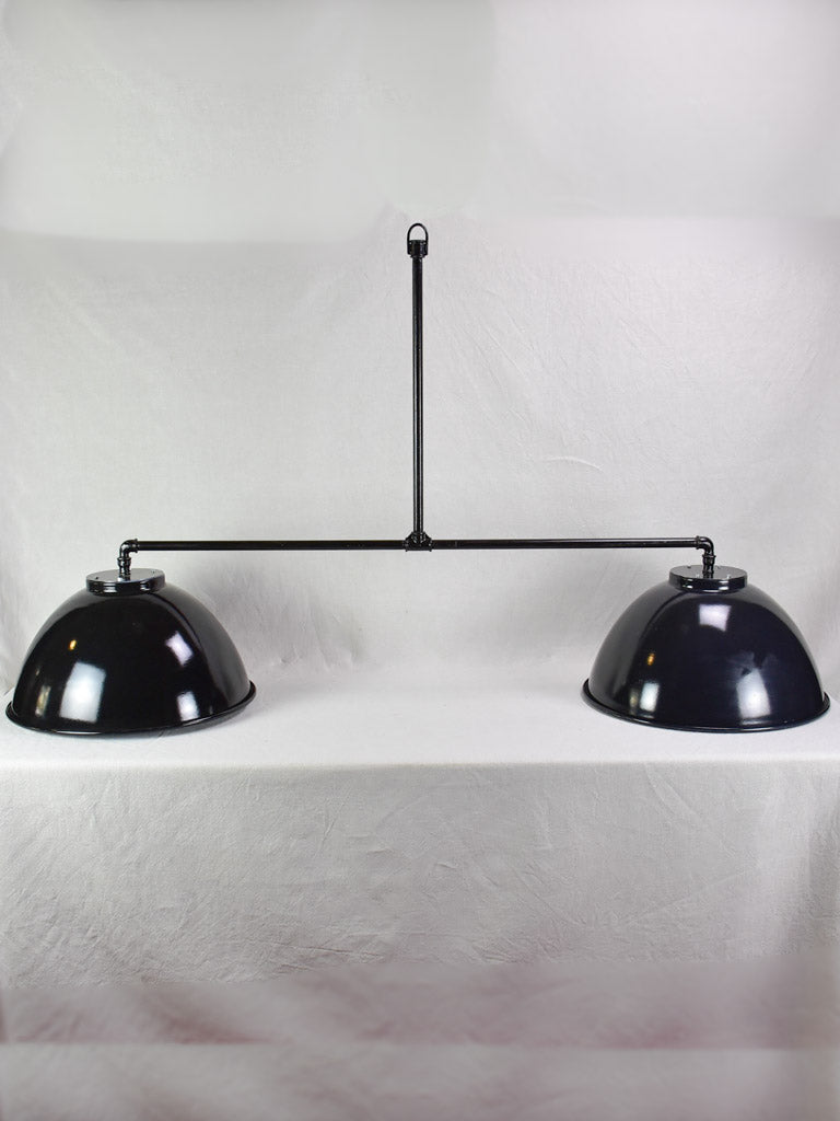 "Very large double suspension light with black industrial enamel lampshades 69"" x 39½"""