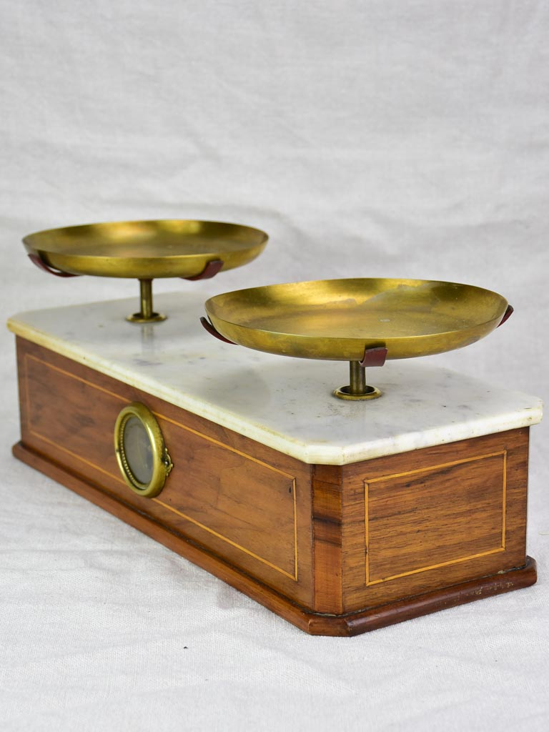 Napoleon III epicerie scales - marble and marquetry