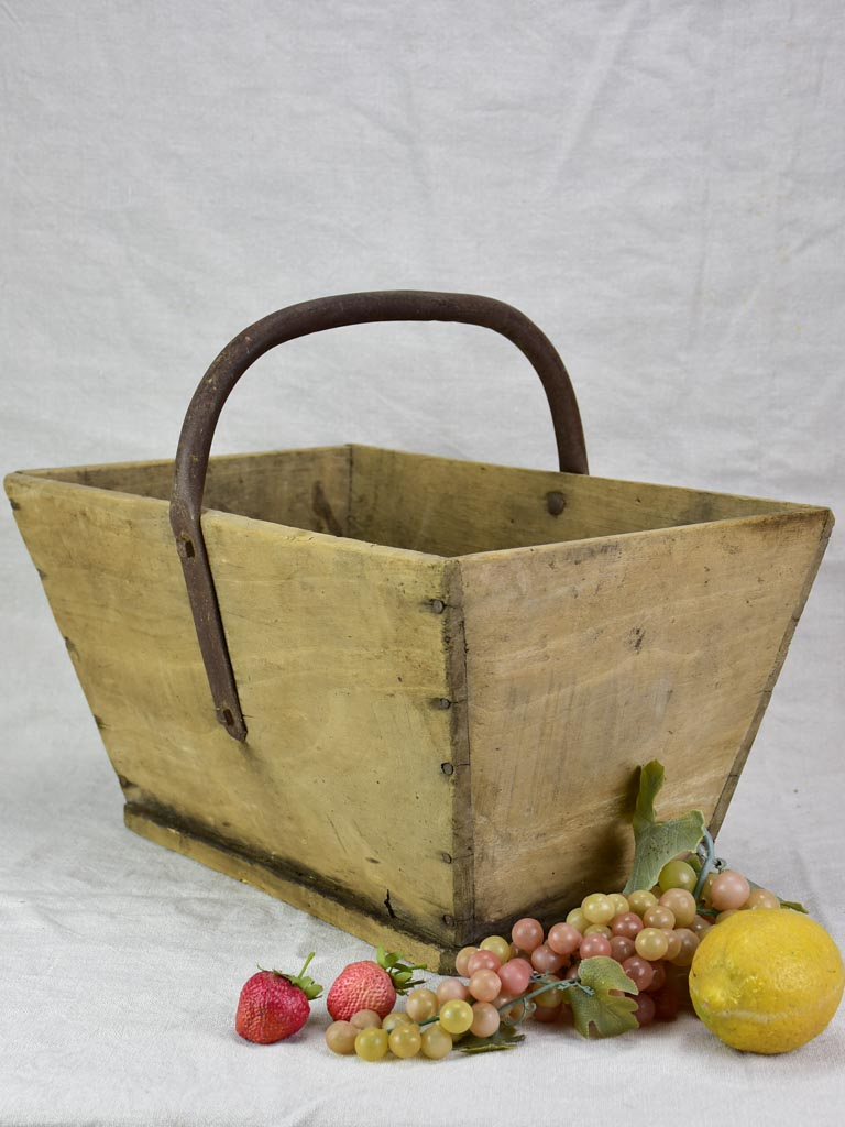 Antique French wooden harvest basket / farm basket