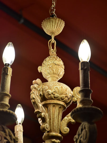 Antique carved French chandelier