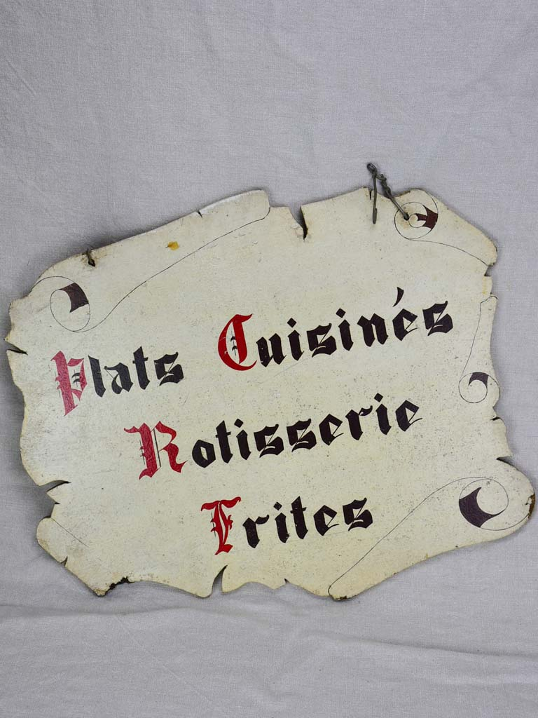 Mid century hand painted shop sign - two sided