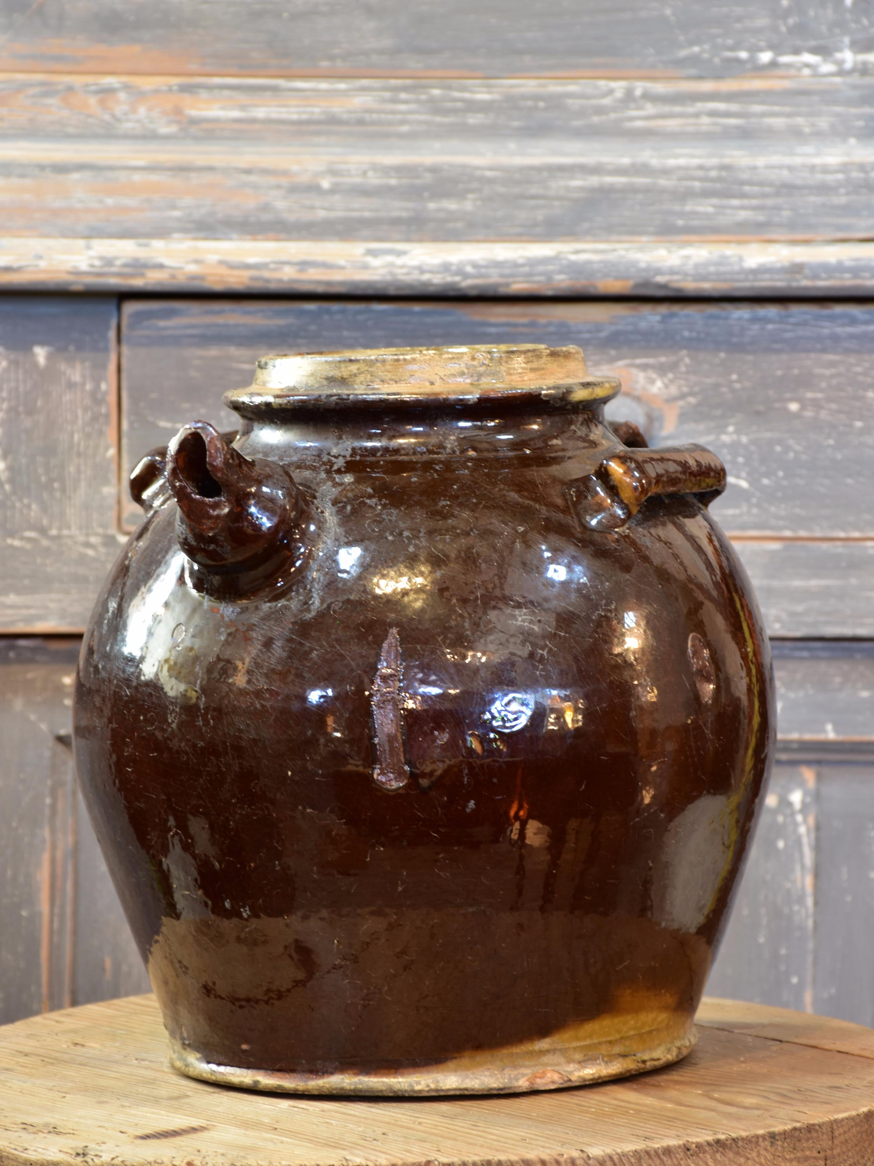 Early 19th century glazed terracotta water pitcher