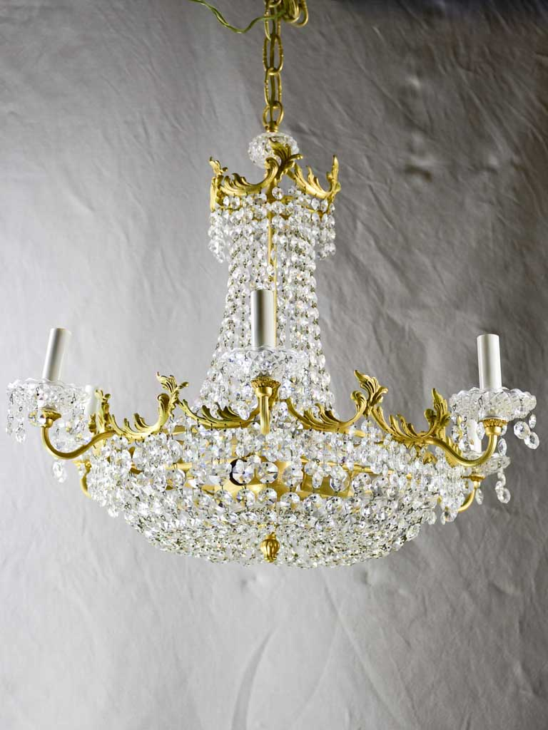 Vintage English chandelier with crystal decorations - nine lights 24½""