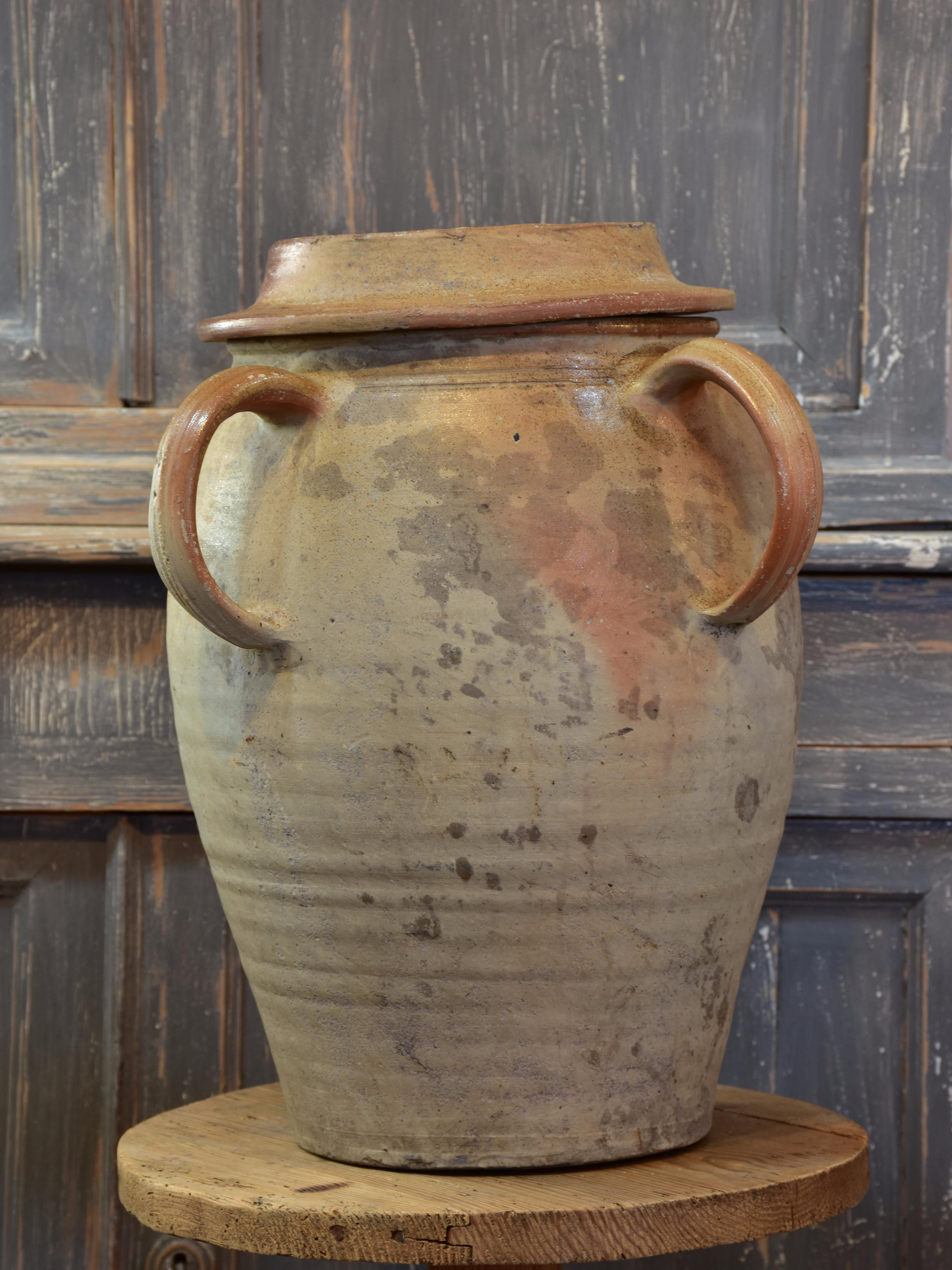 Antique French earthenware pot with lid – early 1900's