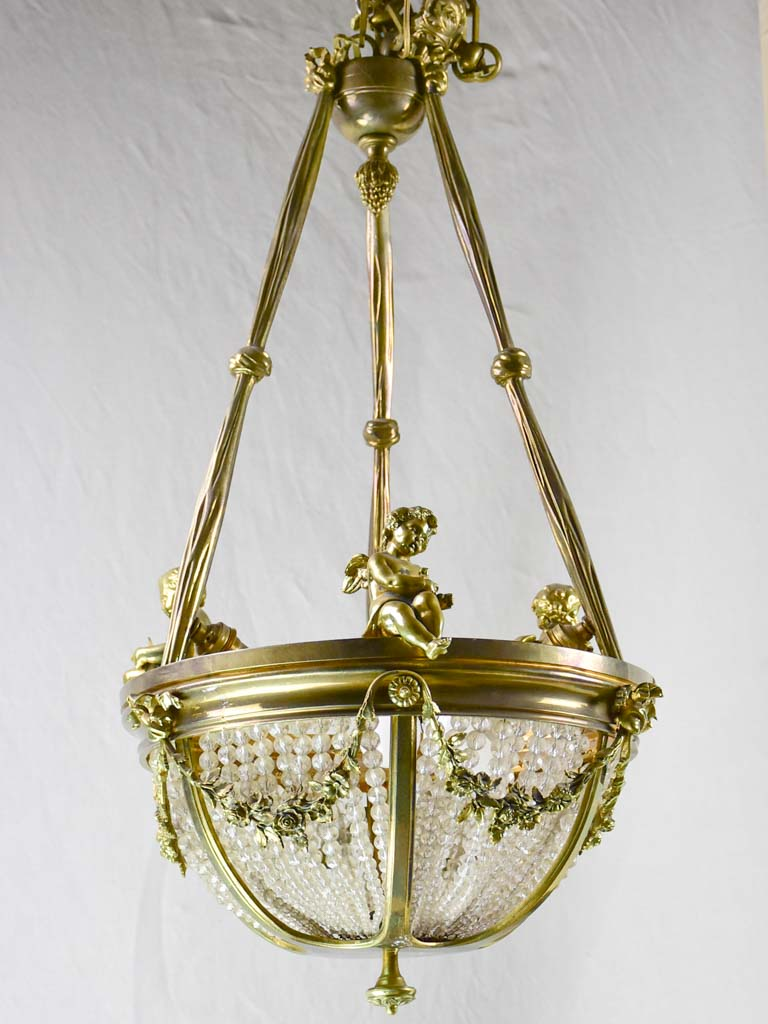 "Pretty 19th Century chandelier with cherubs and crystal decorations 31½"" x 15¾"""