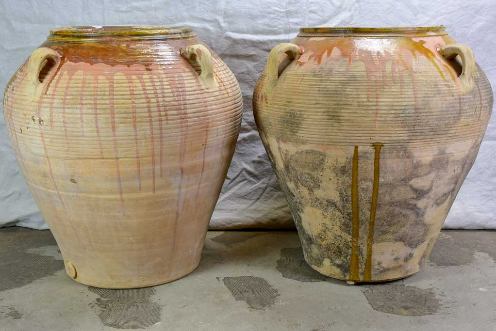 Two very large Spanish terracotta olive pots with four handles 28""