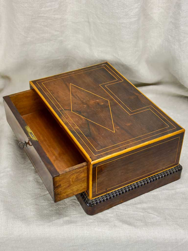 Napoleon III marquetry jewelry box with key