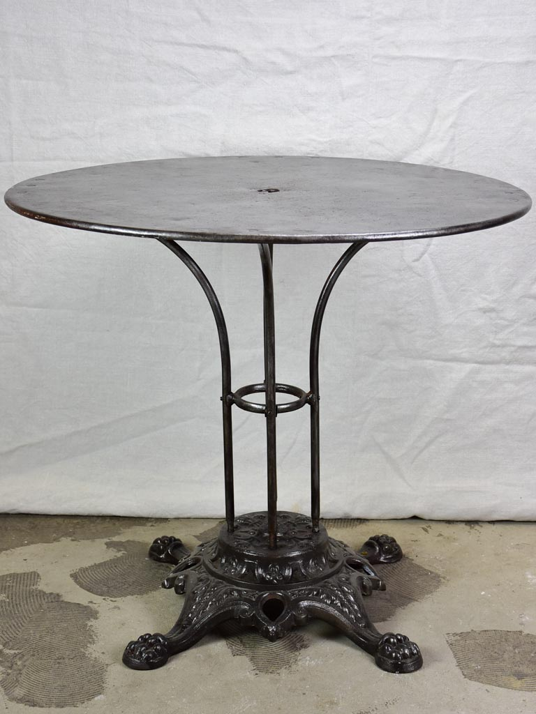 Antique French bistro table with claw feet 31½""