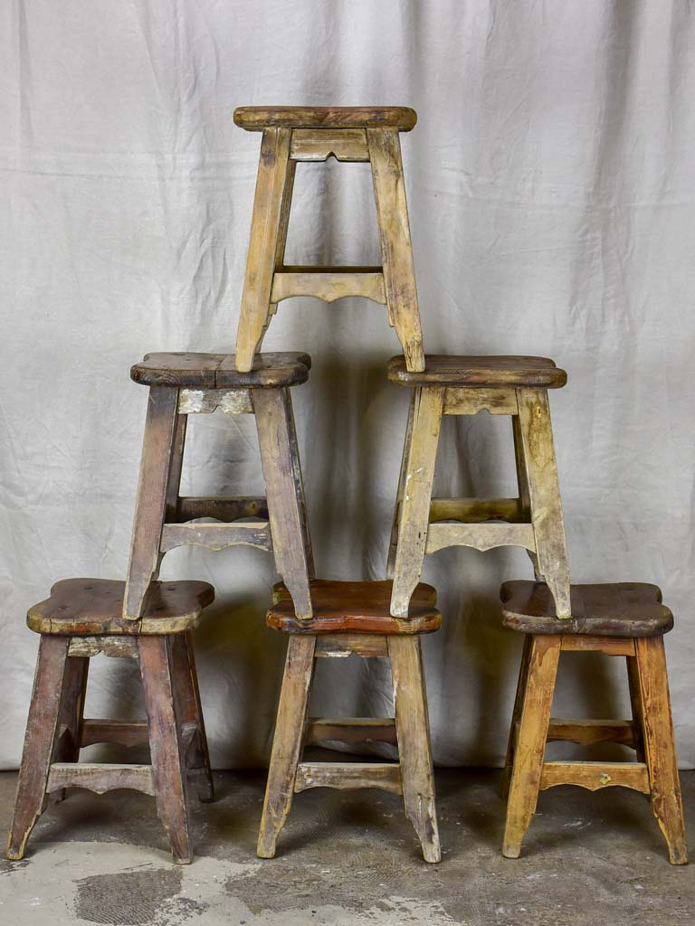 Six antique French timber stools