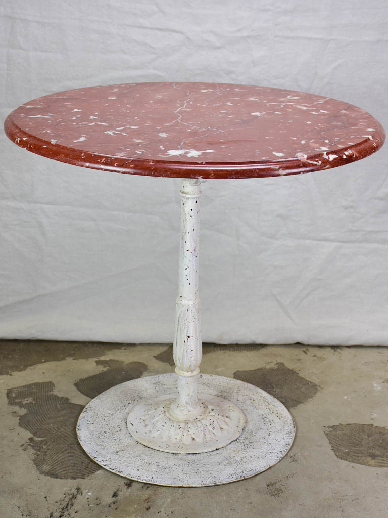 Round table with red marble top 31½""