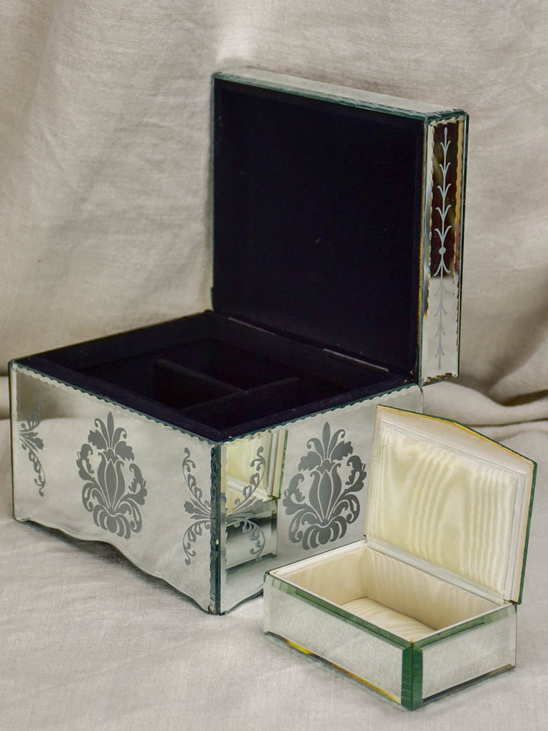 Two mid century glass jewelry boxes