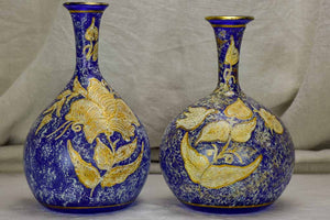 Pair of antique blown glass vases - blue and gold