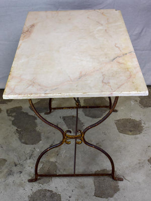 "Antique French garden table with marble top - rectangular 40½"" x 24½"""