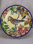 1930's French plate with bird and autumn foliage - Emaux de Longwy 15""