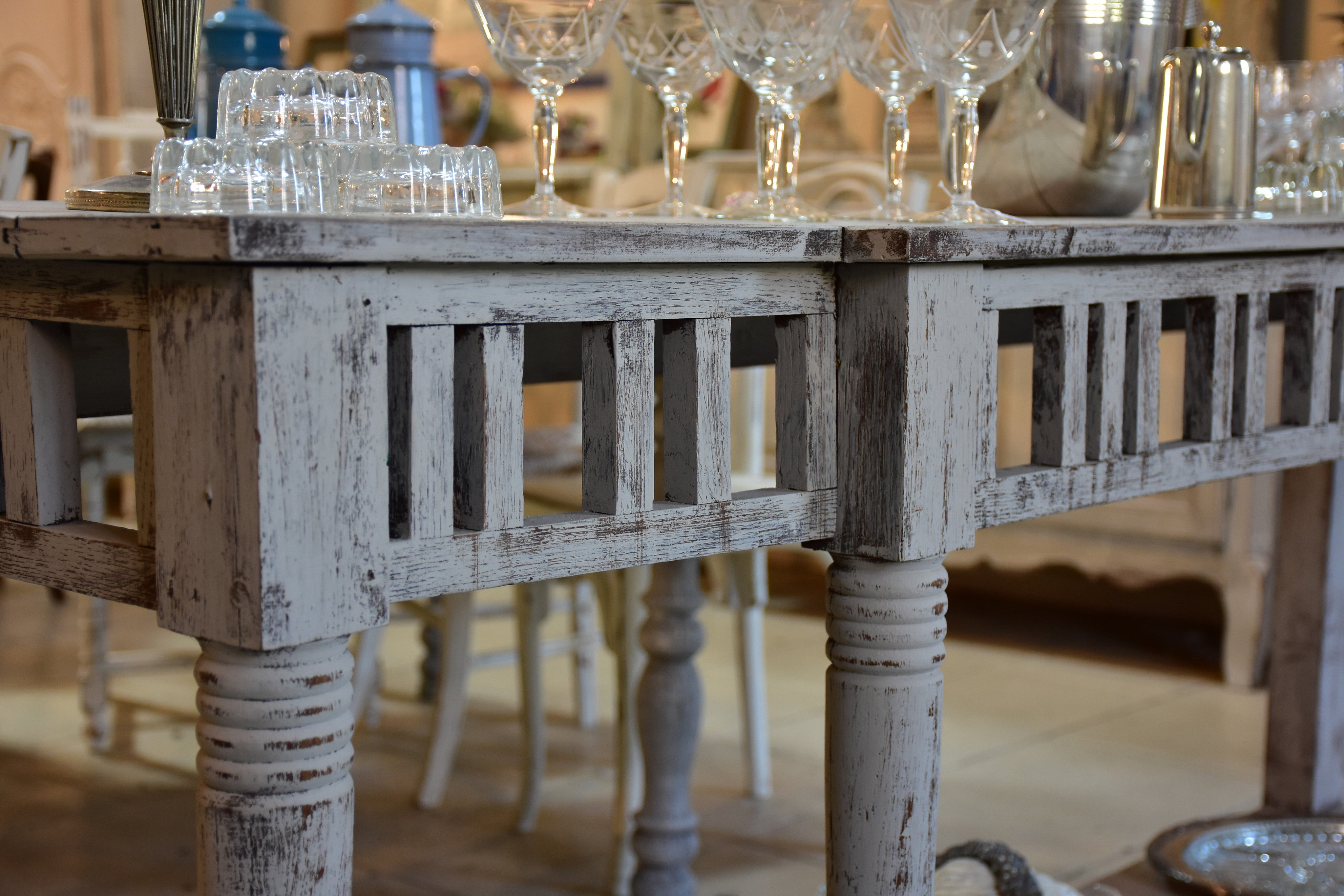 Vintage French kitchen console table with grey patina