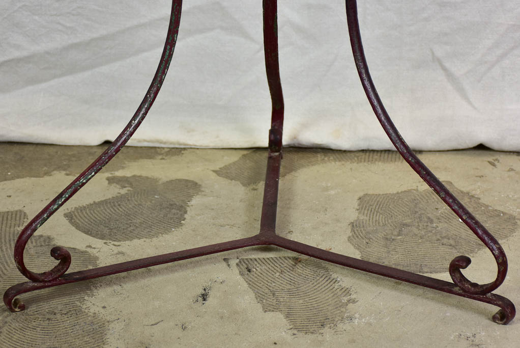 Antique French garden table with burgundy patina 27½""