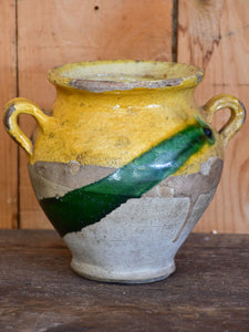Antique French confit pot with yellow and green glaze