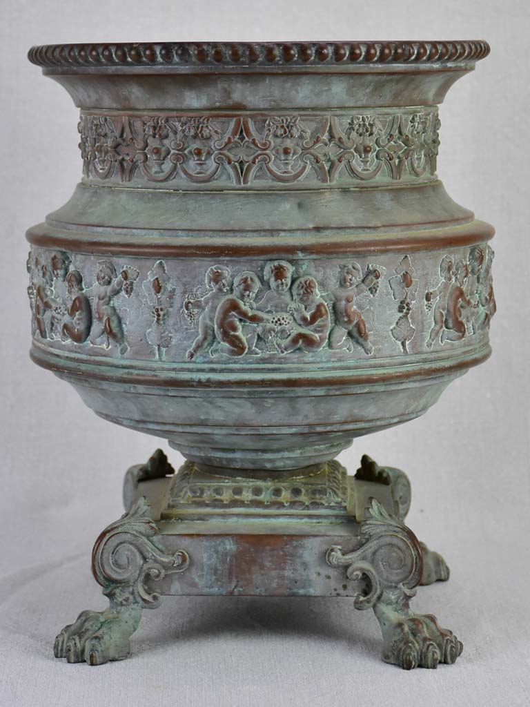 19th century French tole cachepot with lions feet - Toneline Paris 13½""