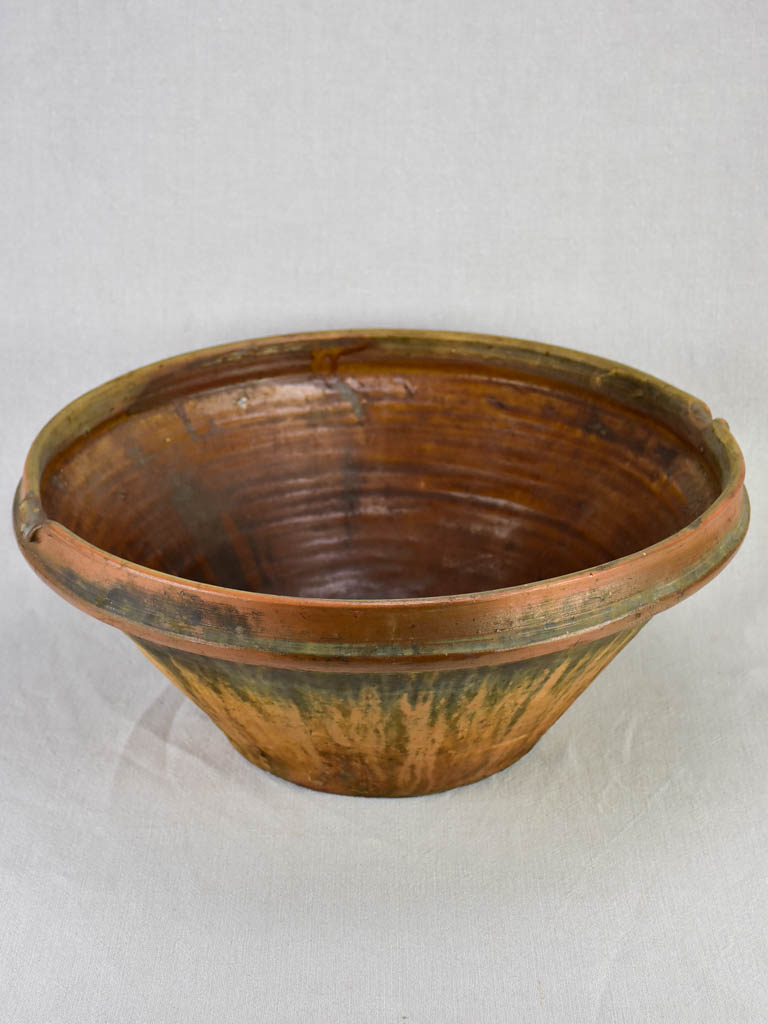 Large antique French tian bowl with brown glaze 19¾""