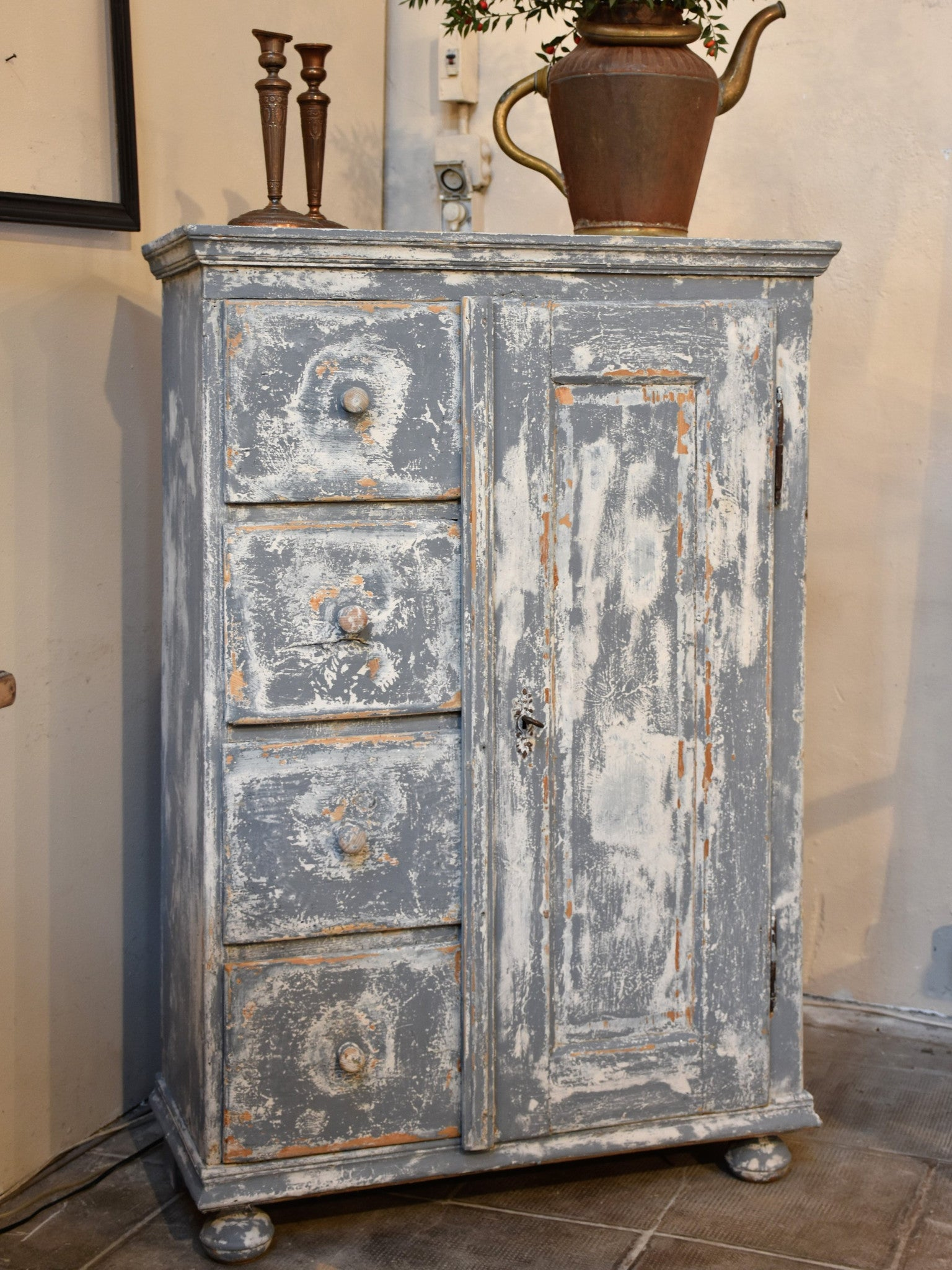 19th century French storage cabinet with blue patina