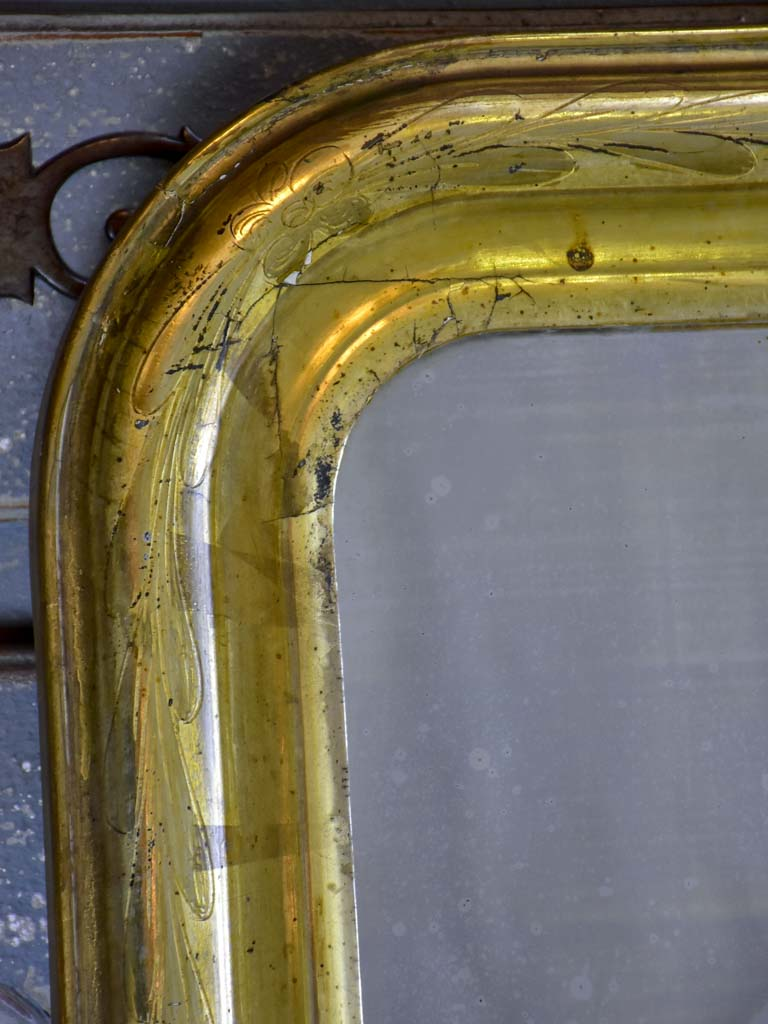 "Antique French Louis Philippe mirror with gilded frame 25¼"" x 37"""