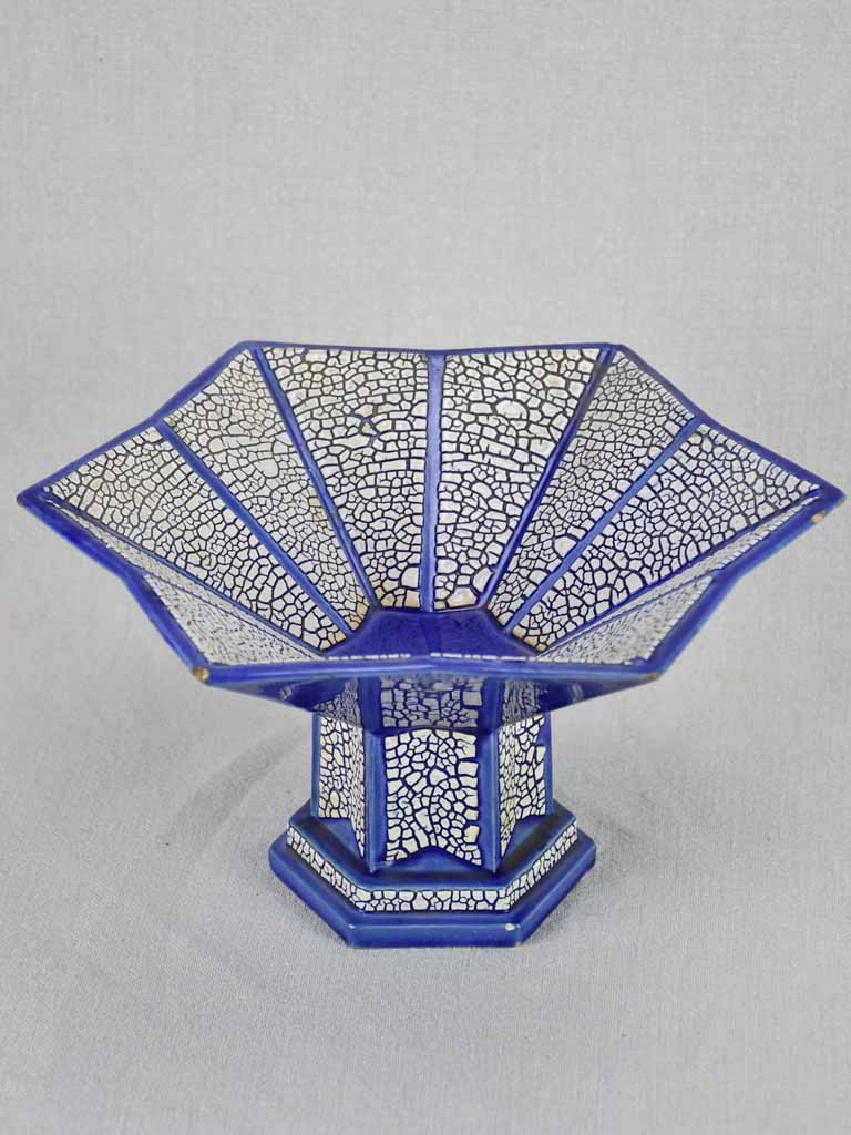 Art Deco blue and white bowl - star shaped 11¾""