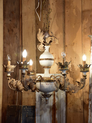 Pair of vintage Italian chandeliers – white with gold leaves