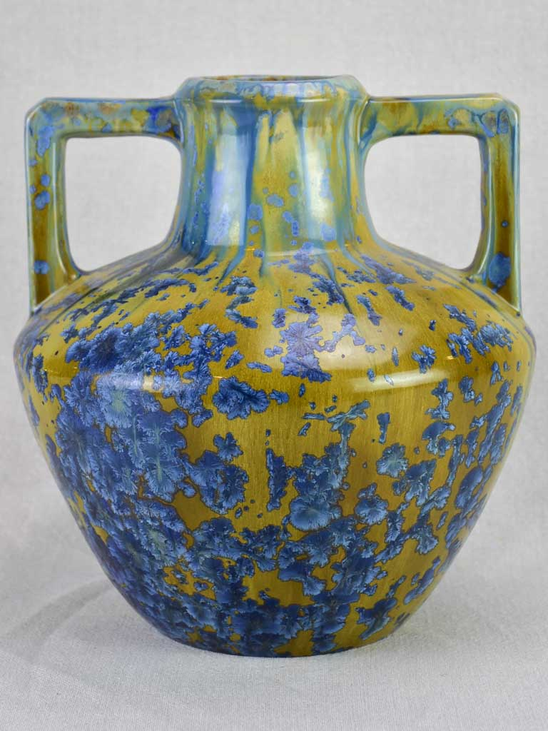 Vintage Pierrefond vase with metallic glaze 12¼""