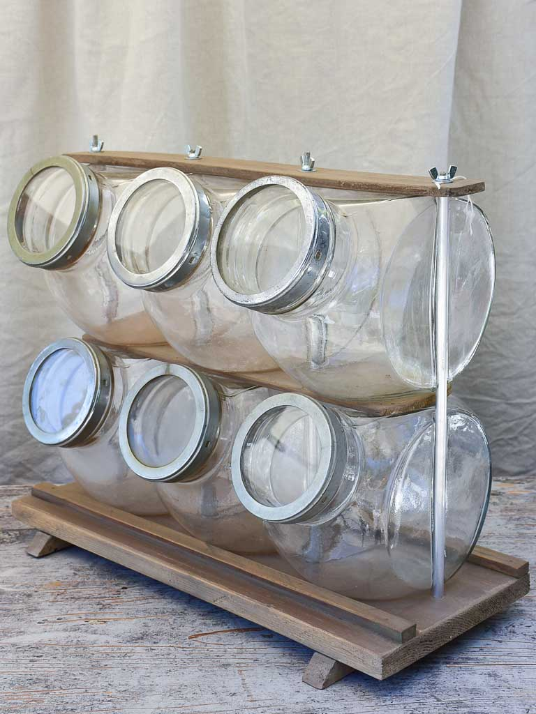 Six Antique French Glass Jars with Wooden Stand