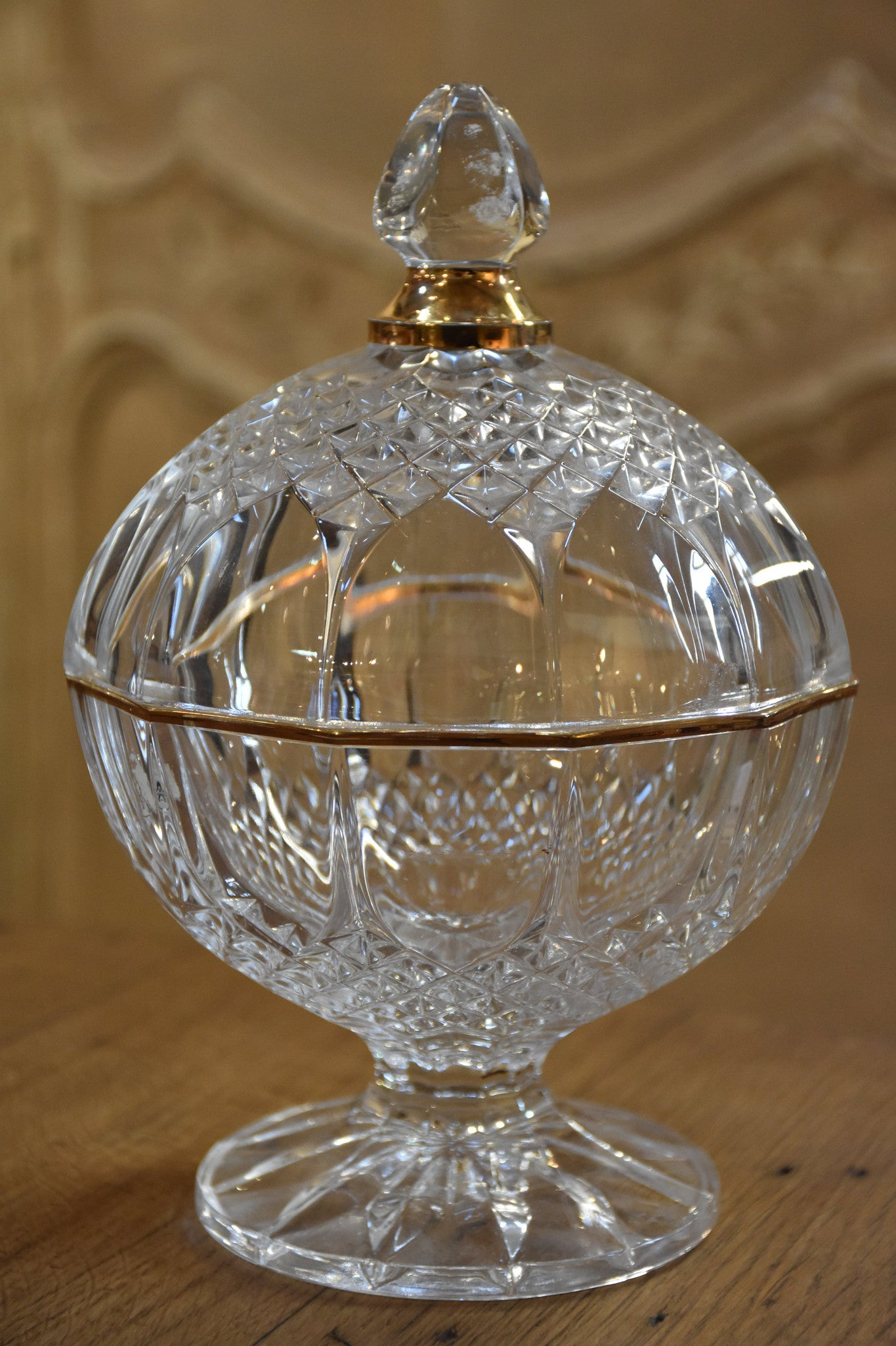 French crystal lolly jar with gold detail